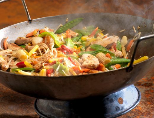 Chicken and Vegetable Stir Fry Cooking in a Wok