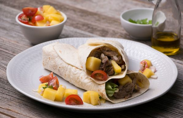 Pulled-Duck-Wrap mit Mangosalat